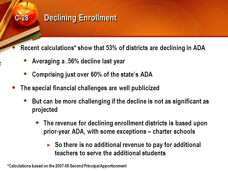 Declining Enrollment  Recent calculations* show that 53% of districts are declining in ADA  Averaging a.56% decline last year  Comprising just over 60% of the state's ADA  The special financial challenges are well publicized  But can be more challenging if the decline is not as significant as projected  The revenue for declining enrollment districts is based upon prior-year ADA, with some exceptions – charter schools  So there is no additional revenue to pay for additional teachers to serve the additional students *Calculations based on the 2007-08 Second Principal Apportionment C-28