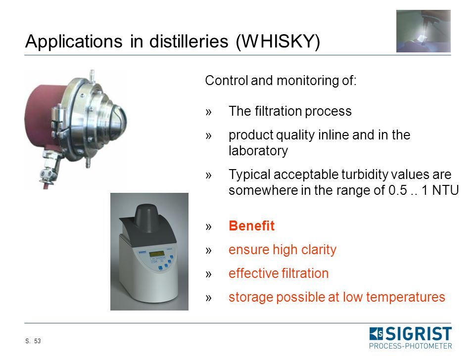 S. 52 Application points (Whisky) » Turbidity after final filter/filter control urbidity in laboratory