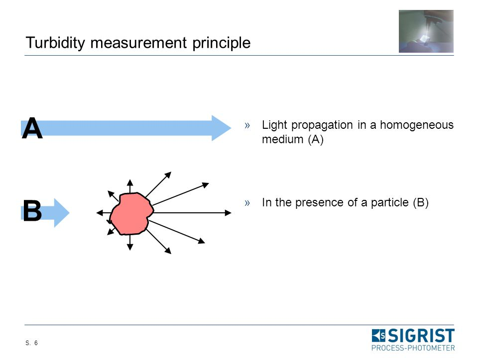 S. 5 Turbidity measurement - particularities Scattered light intensity depends on:  Concentration  Particle size  Particle shape  Scattering angle