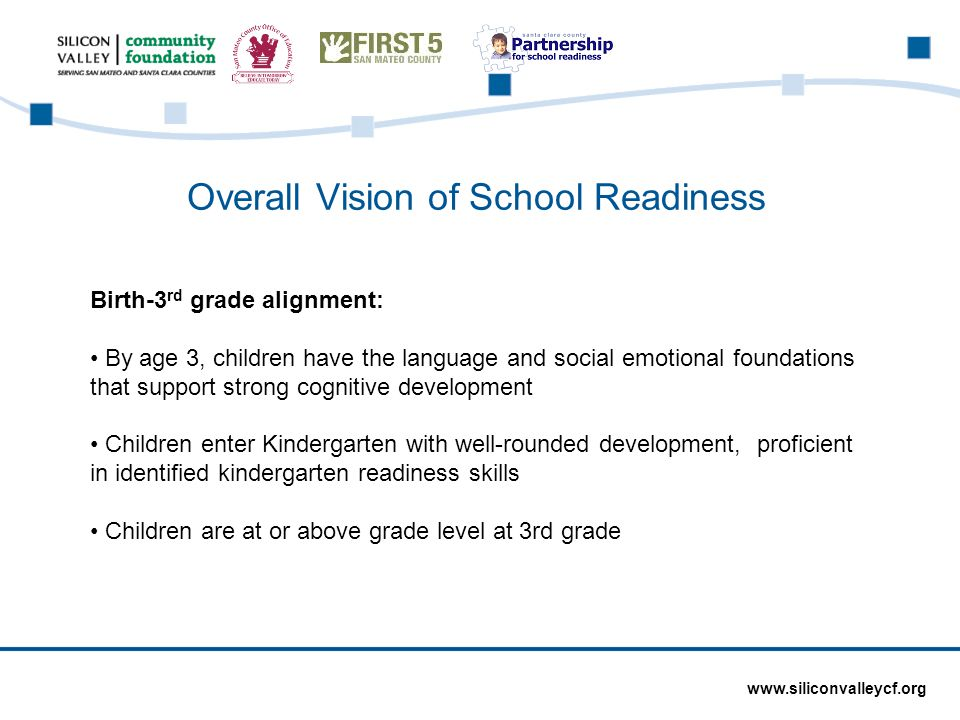 www.siliconvalleycf.org Overall Vision of School Readiness Birth-3 rd grade alignment: By age 3, children have the language and social emotional foundations that support strong cognitive development Children enter Kindergarten with well-rounded development, proficient in identified kindergarten readiness skills Children are at or above grade level at 3rd grade