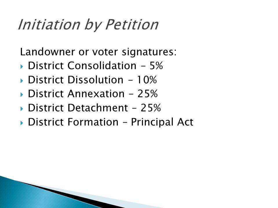 Landowner or voter signatures:  District Consolidation – 5%  District Dissolution – 10%  District Annexation – 25%  District Detachment – 25%  District Formation – Principal Act