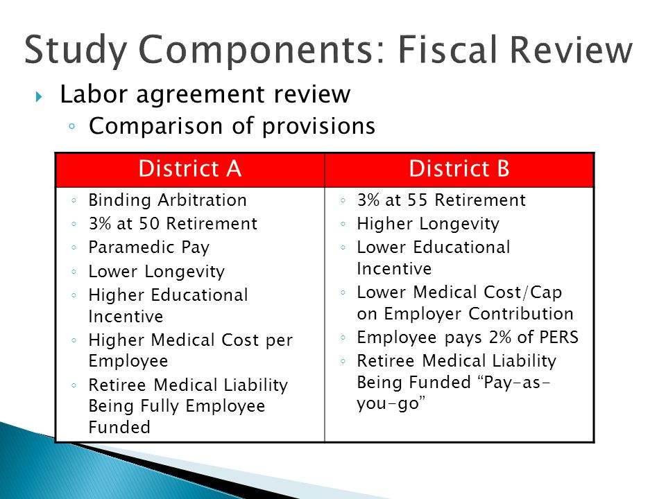 Study Components Fiscal Review  Labor agreement review ◦ Salary and Benefit Cost comparison Annual Base PayFLSALongevityEducationalParamedicHolidayClothingTotal PERS 3%@55 Firefighter51,6001,3821,5483,745320 58,595 24,157 PERS 3%@55 PERS 3%@50WCMedicareLife Ins Vision Ins Dental Ins Disability Ins Health Ins Firefighter24,157 3,767 845961,18614,568