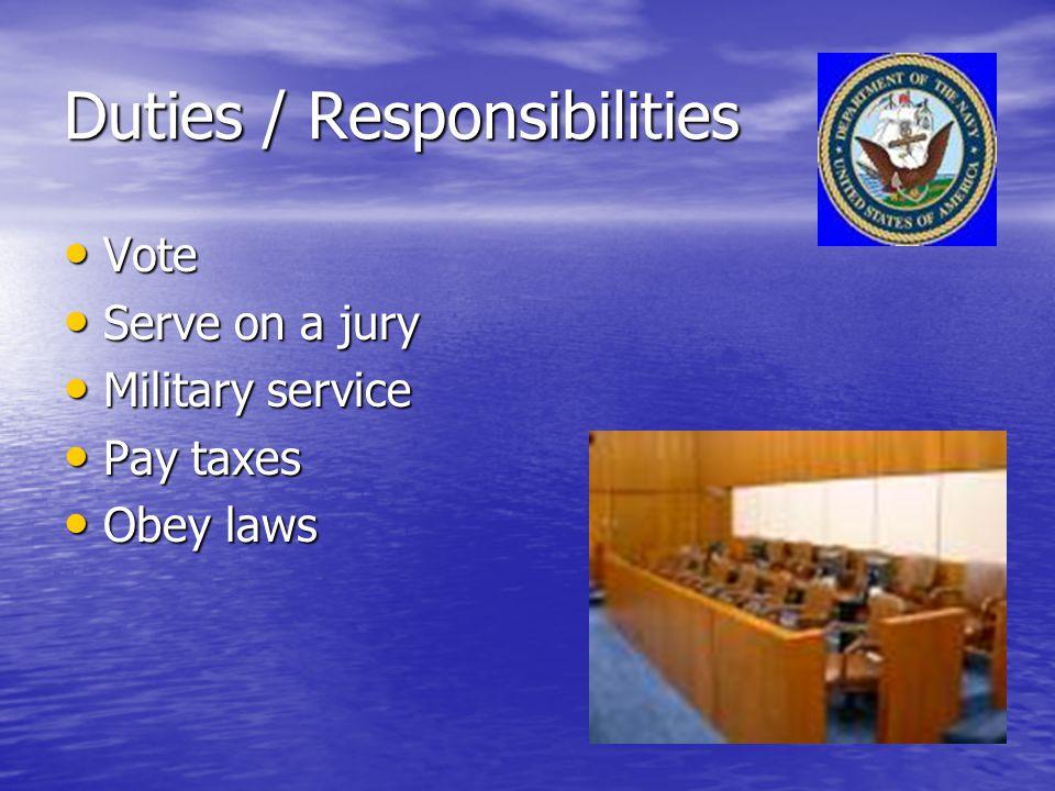 Duties / Responsibilities Vote Vote Serve on a jury Serve on a jury Military service Military service Pay taxes Pay taxes Obey laws Obey laws