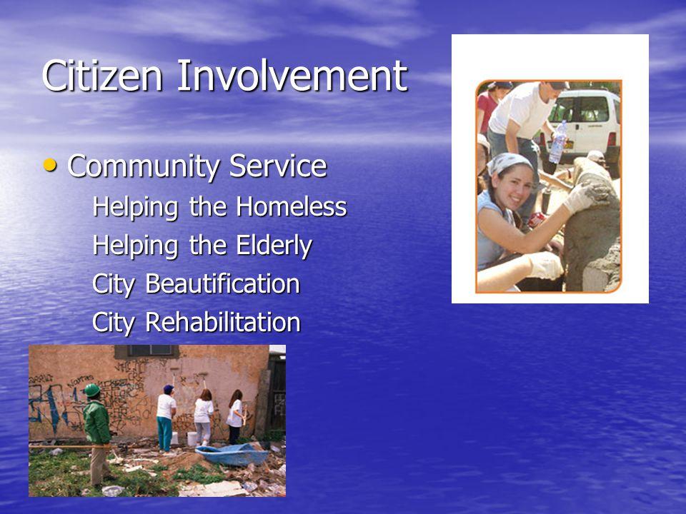 Citizen Involvement Community Service Community Service Helping the Homeless Helping the Homeless Helping the Elderly Helping the Elderly City Beautification City Beautification City Rehabilitation City Rehabilitation