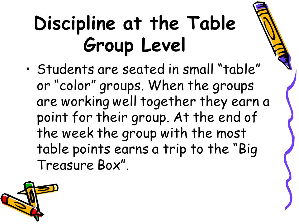 Individual Discipline Continued… Behavior Calendars –Students fill in their own behavior calendar at the end of each day. At the end of the week it is