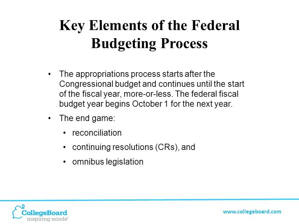 www.collegeboard.com Key Elements of the Federal Budgeting Process The appropriations process starts after the Congressional budget and continues until the start of the fiscal year, more-or-less.