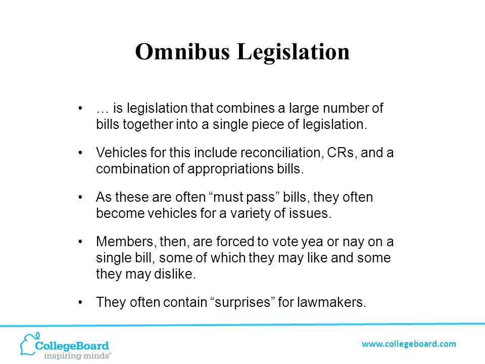 www.collegeboard.com Omnibus Legislation … is legislation that combines a large number of bills together into a single piece of legislation.