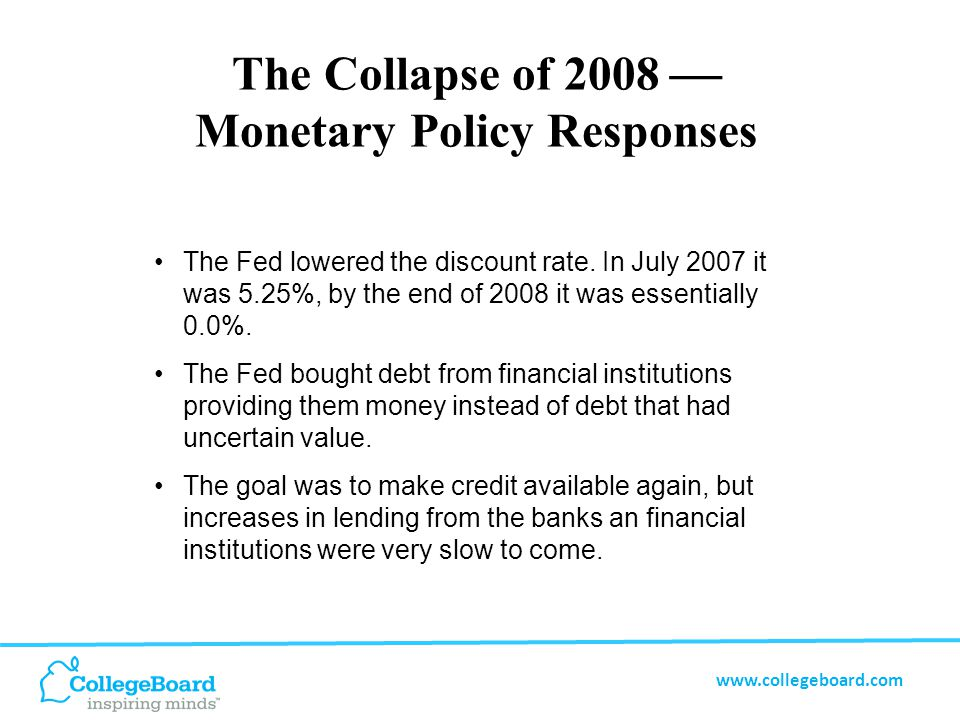 www.collegeboard.com The Collapse of 2008  Monetary Policy Responses The Fed lowered the discount rate.