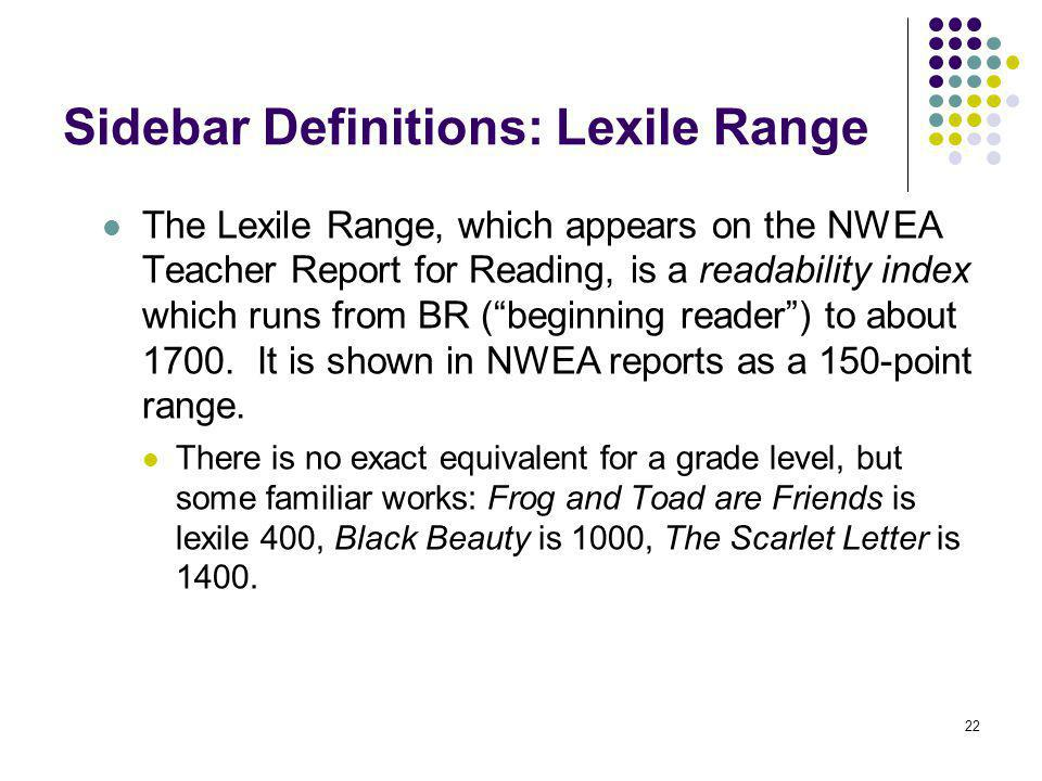 22 Sidebar Definitions: Lexile Range The Lexile Range, which appears on the NWEA Teacher Report for Reading, is a readability index which runs from BR
