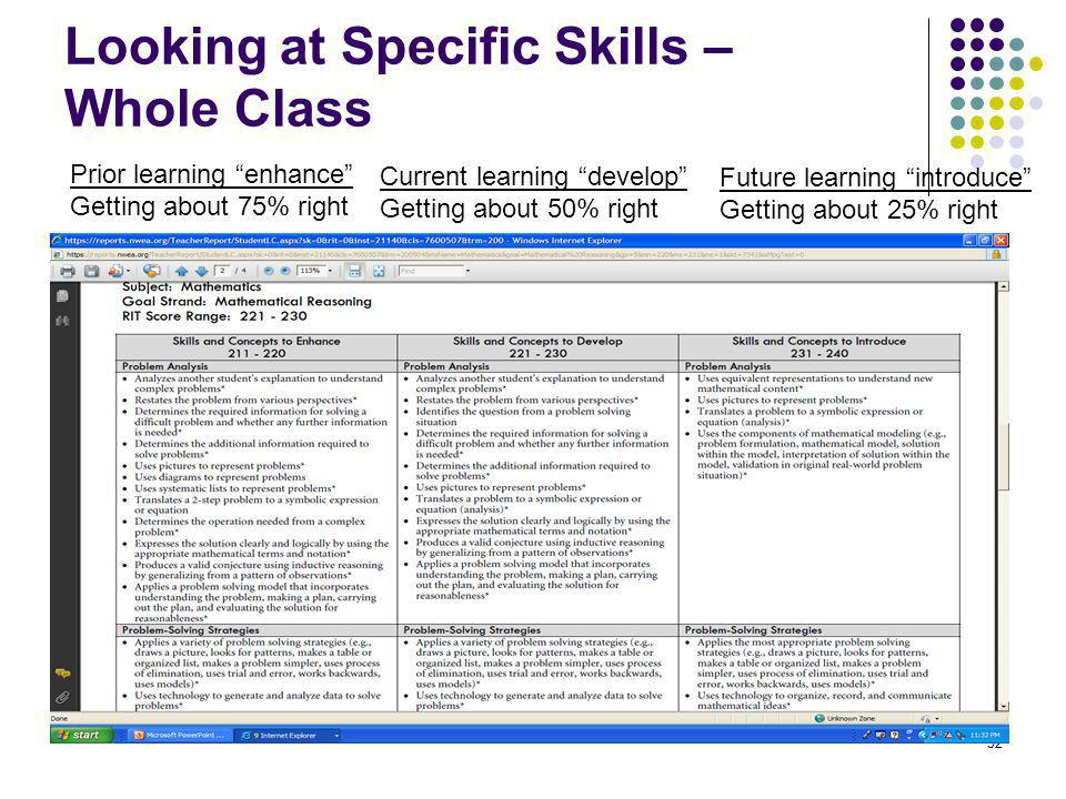 53 Looking at Specific Skills – Whole Class Review all three columns: Use a highlighter to mark the bullets that you cover, have materials for and do well on.