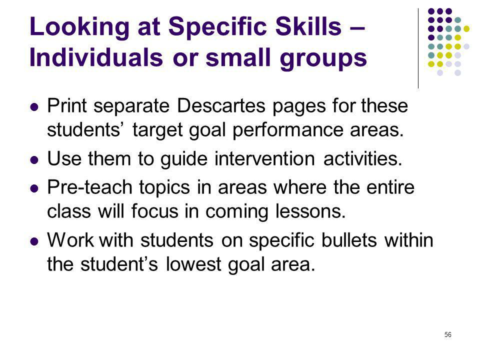 56 Looking at Specific Skills – Individuals or small groups Print separate Descartes pages for these students' target goal performance areas. Use them