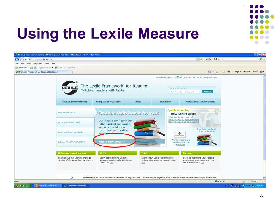59 Using the Lexile Measure Enter the 150 point range and click Continue