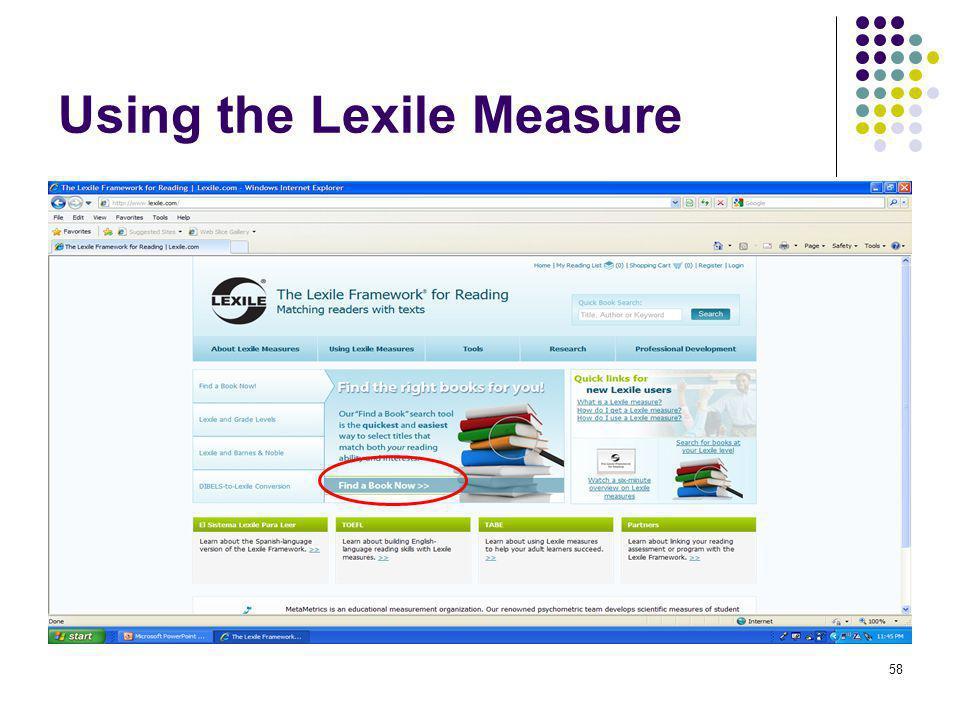 58 Using the Lexile Measure