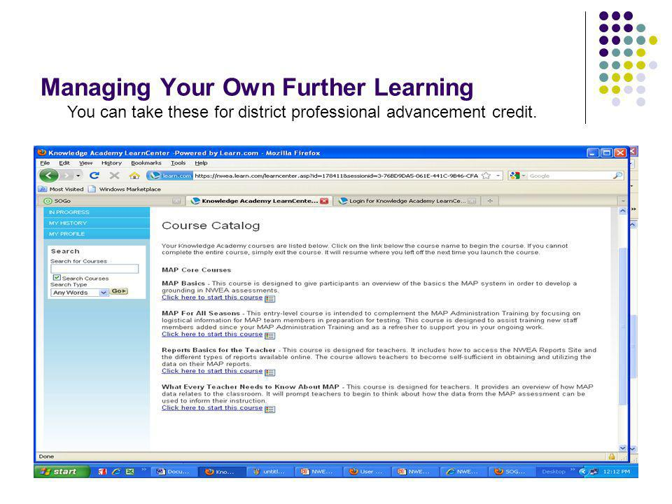 68 Managing Your Own Further Learning You can also log in to the NWEA website for Partner Support