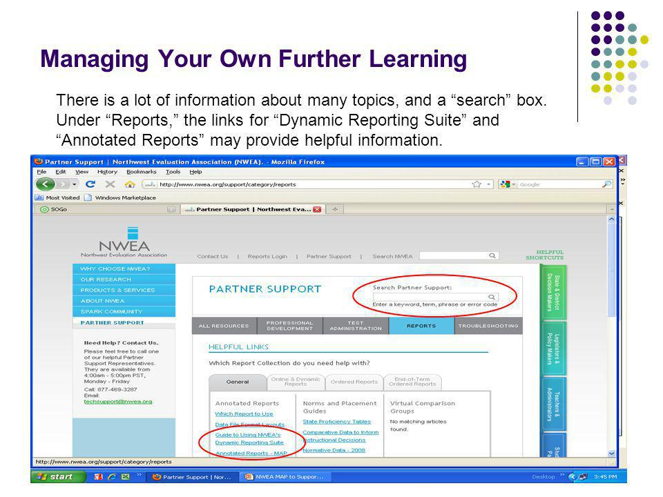 70 Managing Your Own Further Learning Another good resource is the Poway (California) Unified School District NWEA site.