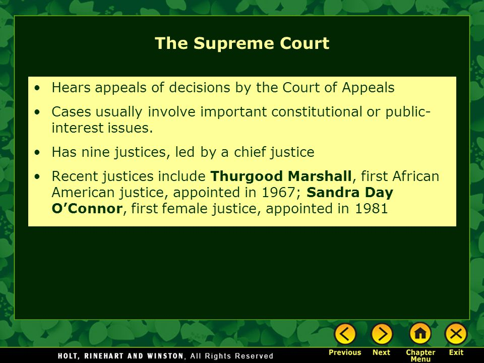 The Supreme Court Hears appeals of decisions by the Court of Appeals Cases usually involve important constitutional or public- interest issues. Has ni