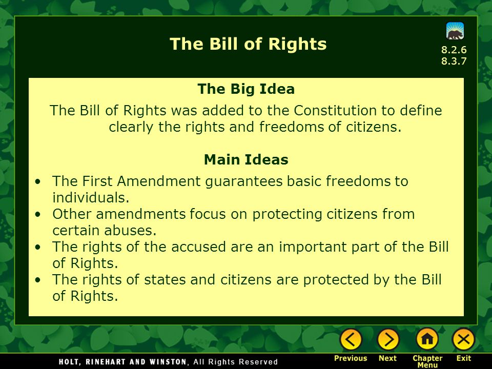 The Bill of Rights The Big Idea The Bill of Rights was added to the Constitution to define clearly the rights and freedoms of citizens. Main Ideas The
