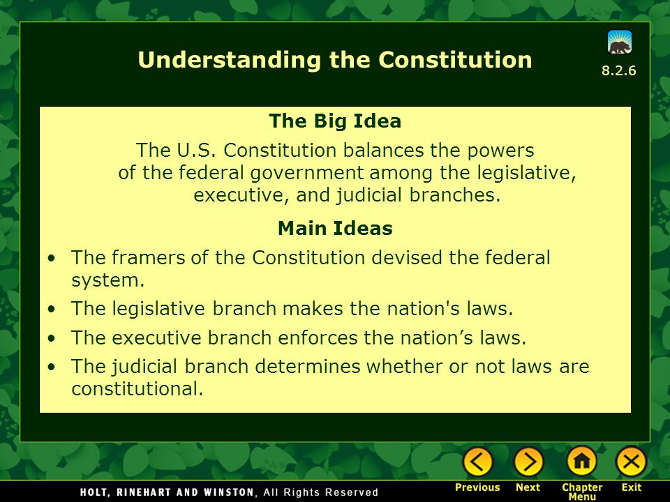 Understanding the Constitution The Big Idea The U.S. Constitution balances the powers of the federal government among the legislative, executive, and