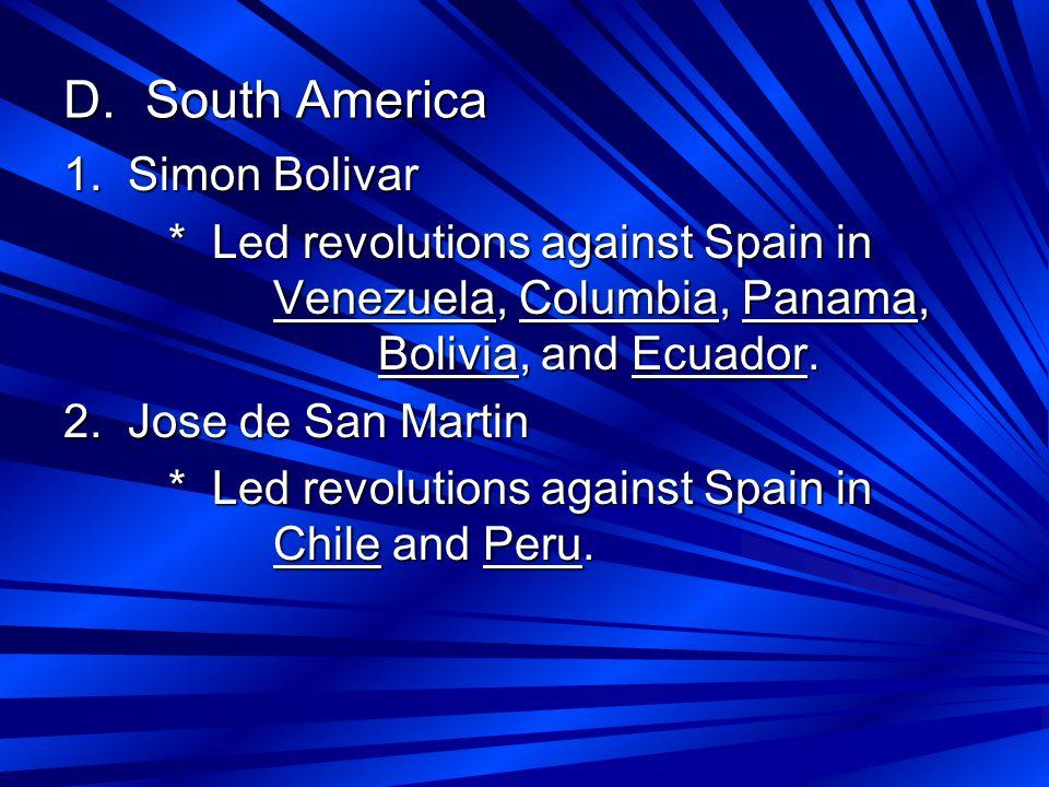 D. South America 1.