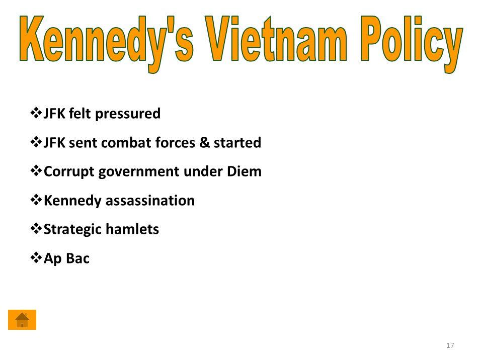 17  JFK felt pressured  JFK sent combat forces & started  Corrupt government under Diem  Kennedy assassination  Strategic hamlets  Ap Bac