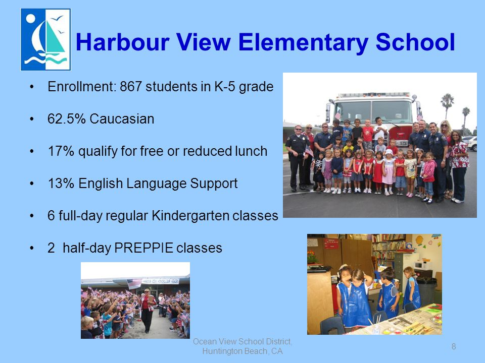Ocean View School District, Huntington Beach, CA 9 Star View Elementary School Enrollment: 570 students in K-5 grade 50% Vietnamese 38% qualify for free or reduced lunch 38% English Language Support 3 full-day regular Kindergarten classes 1 full-day PREPPIE class