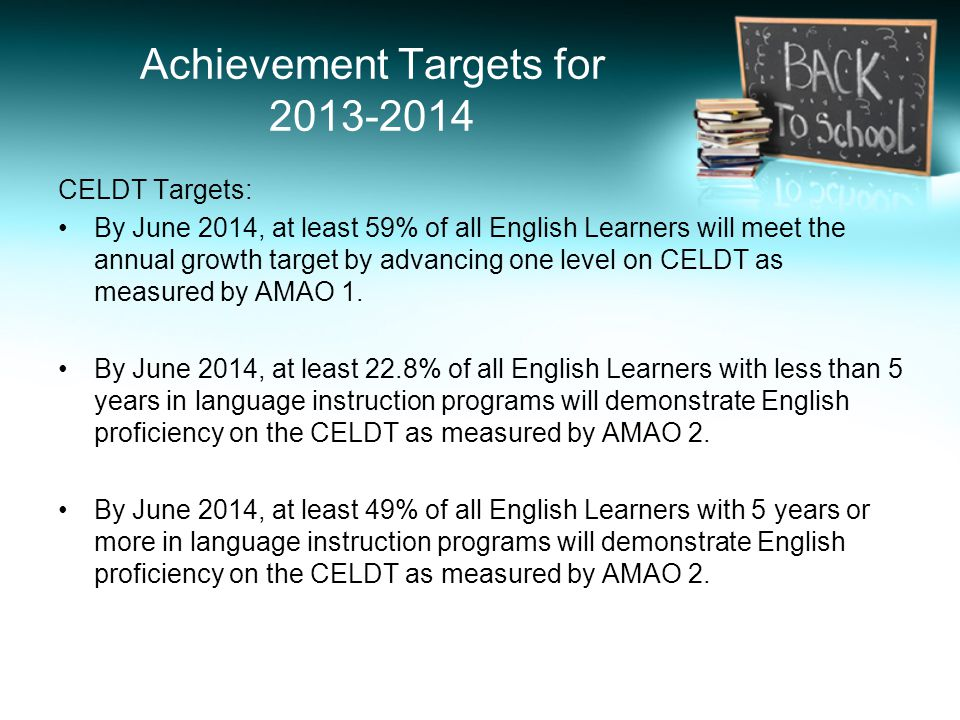 Achievement Targets for 2013-2014 CELDT Targets: By June 2014, at least 59% of all English Learners will meet the annual growth target by advancing one level on CELDT as measured by AMAO 1.