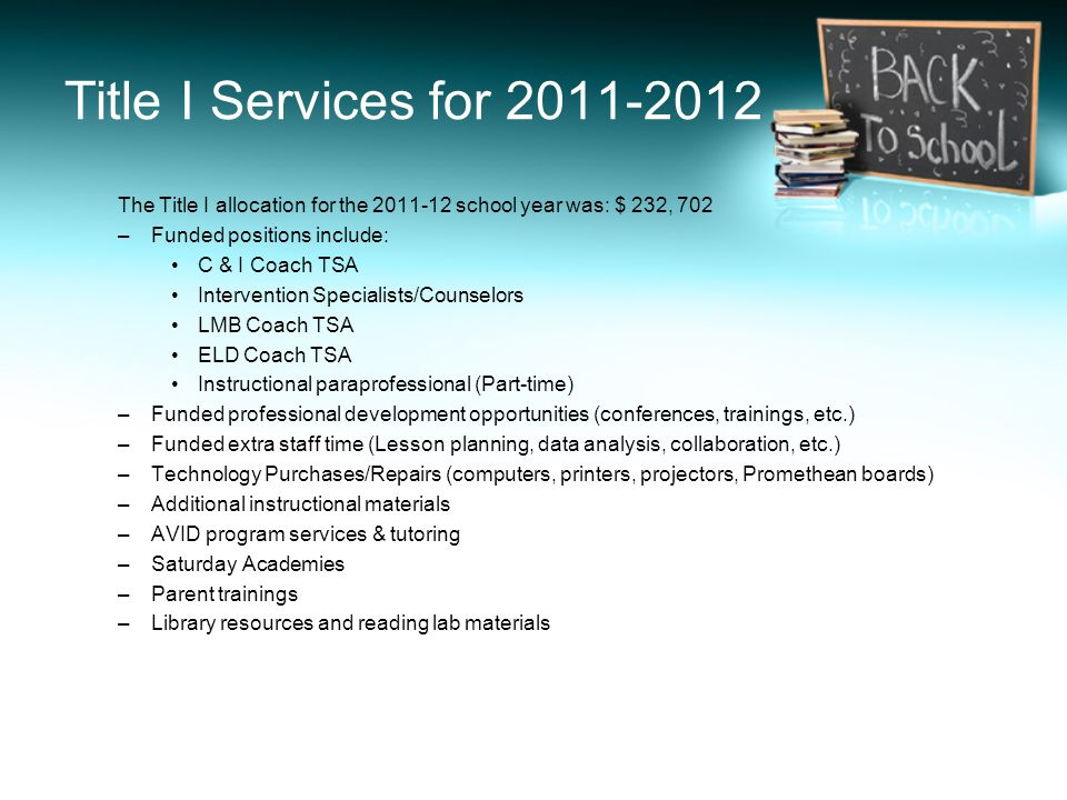 Title I Services for 2011-2012 The Title I allocation for the 2011-12 school year was: $ 232, 702 –Funded positions include: C & I Coach TSA Intervent