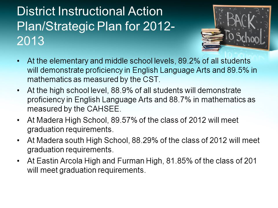 District Instructional Action Plan/Strategic Plan for 2012- 2013 At the elementary and middle school levels, 89.2% of all students will demonstrate pr