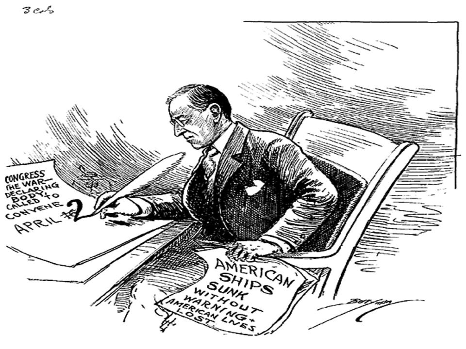 War.Wilson asked and Congress voted to declare war on Germany.