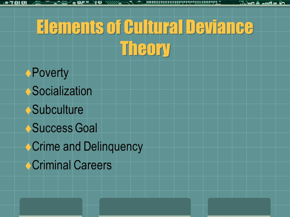 Elements of Cultural Deviance Theory  Poverty  Socialization  Subculture  Success Goal  Crime and Delinquency  Criminal Careers