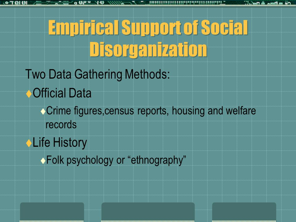 Empirical Support of Social Disorganization Two Data Gathering Methods:  Official Data  Crime figures,census reports, housing and welfare records 