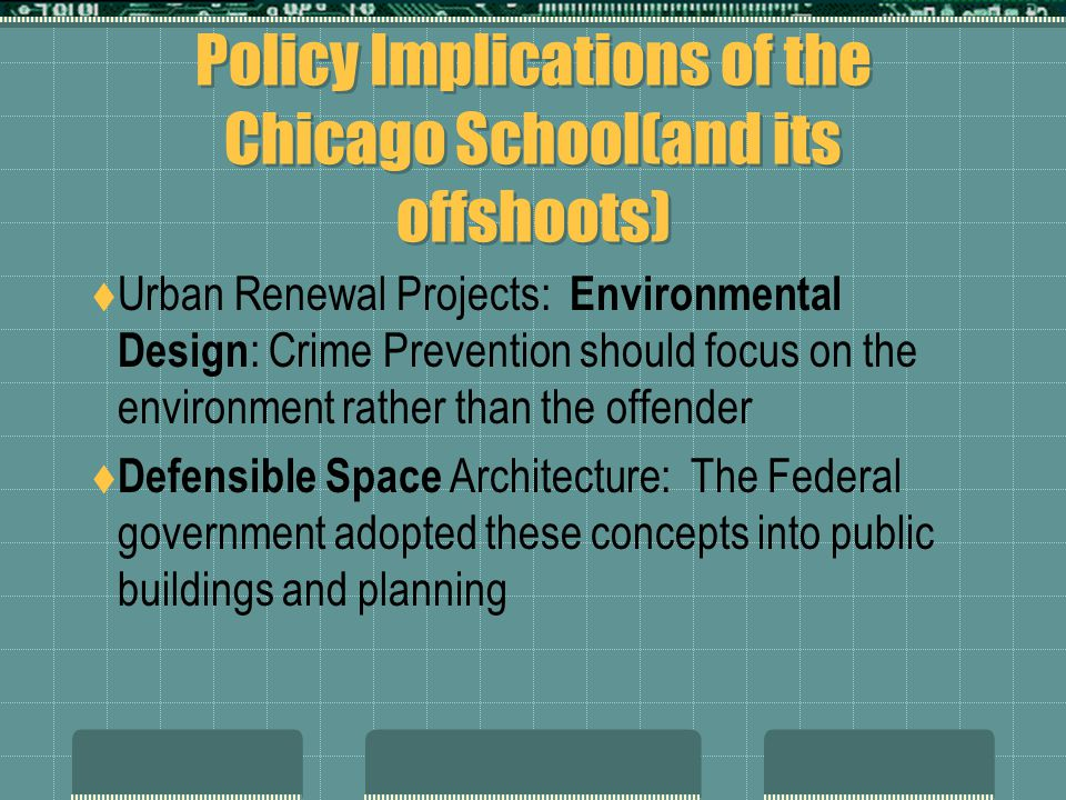Policy Implications of the Chicago School(and its offshoots)  Urban Renewal Projects: Environmental Design : Crime Prevention should focus on the env