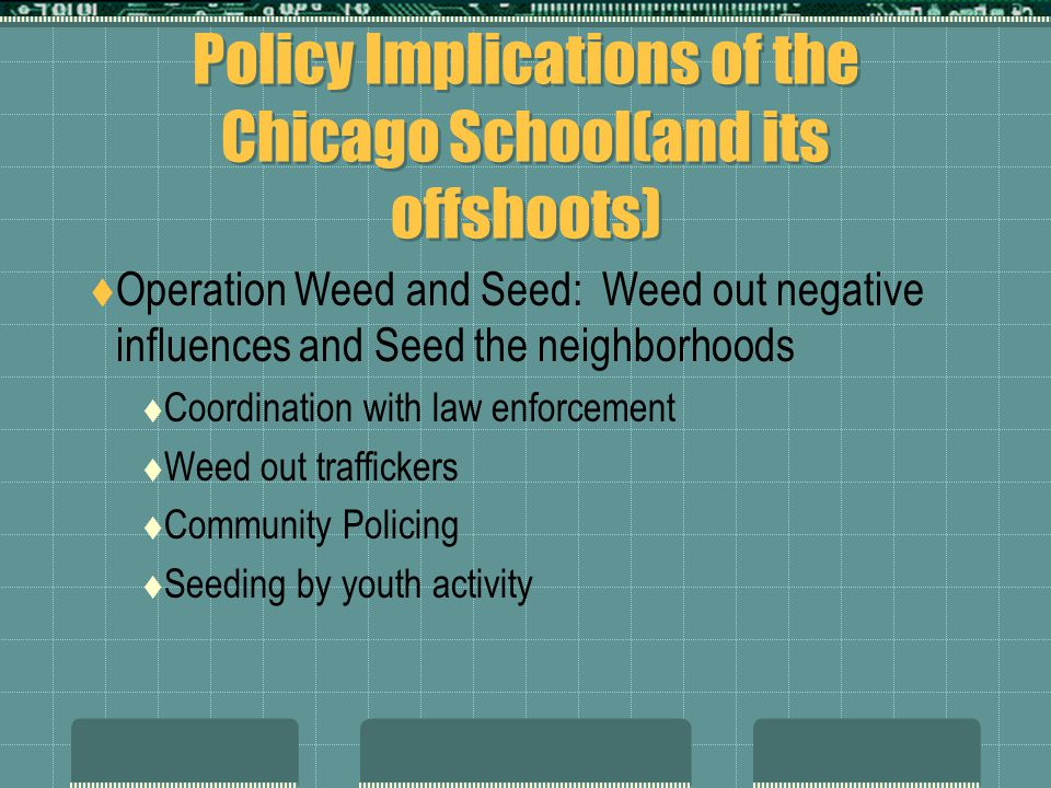 Policy Implications of the Chicago School(and its offshoots)  Operation Weed and Seed: Weed out negative influences and Seed the neighborhoods  Coor