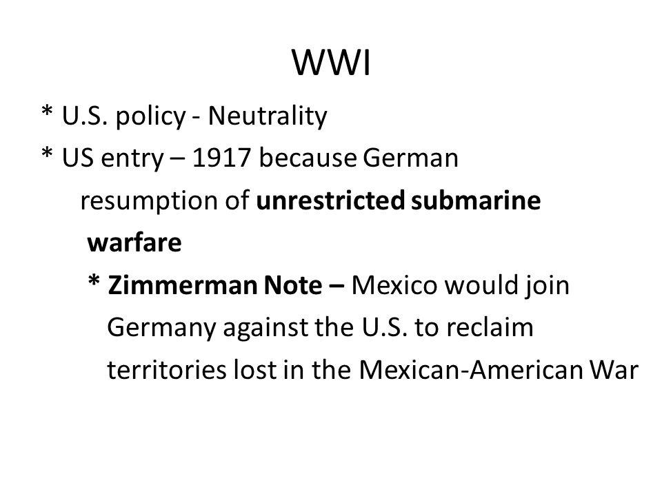 WWI * U.S.