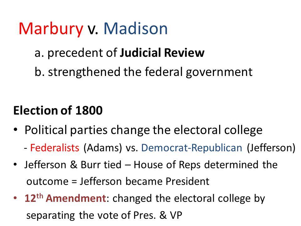 Marbury v. Madison a. precedent of Judicial Review b.