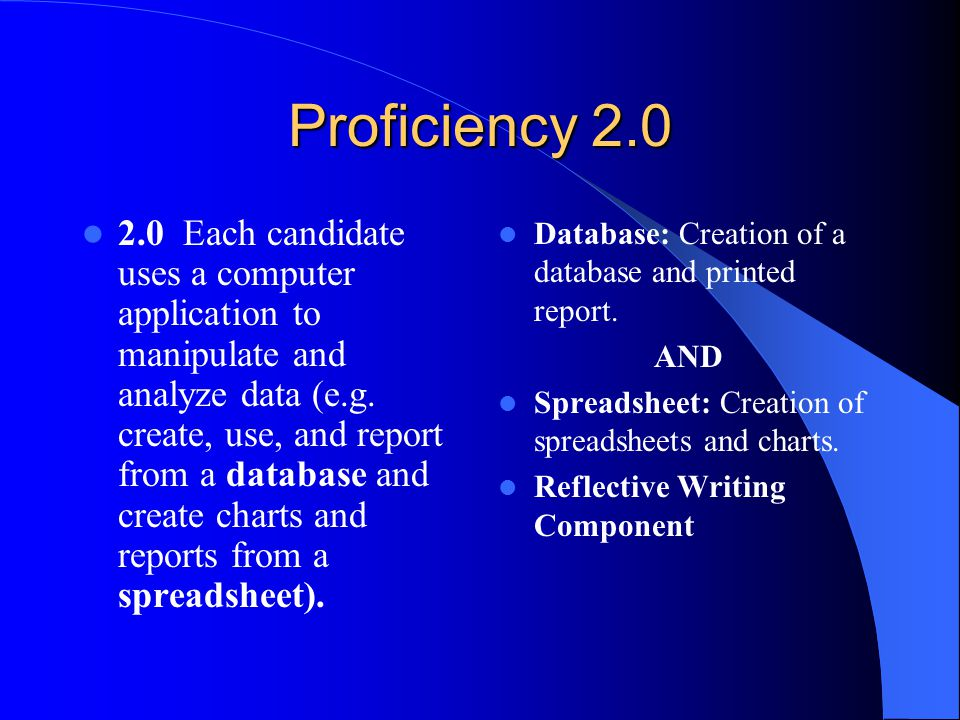 Proficiency 2.0 2.0 Each candidate uses a computer application to manipulate and analyze data (e.g.