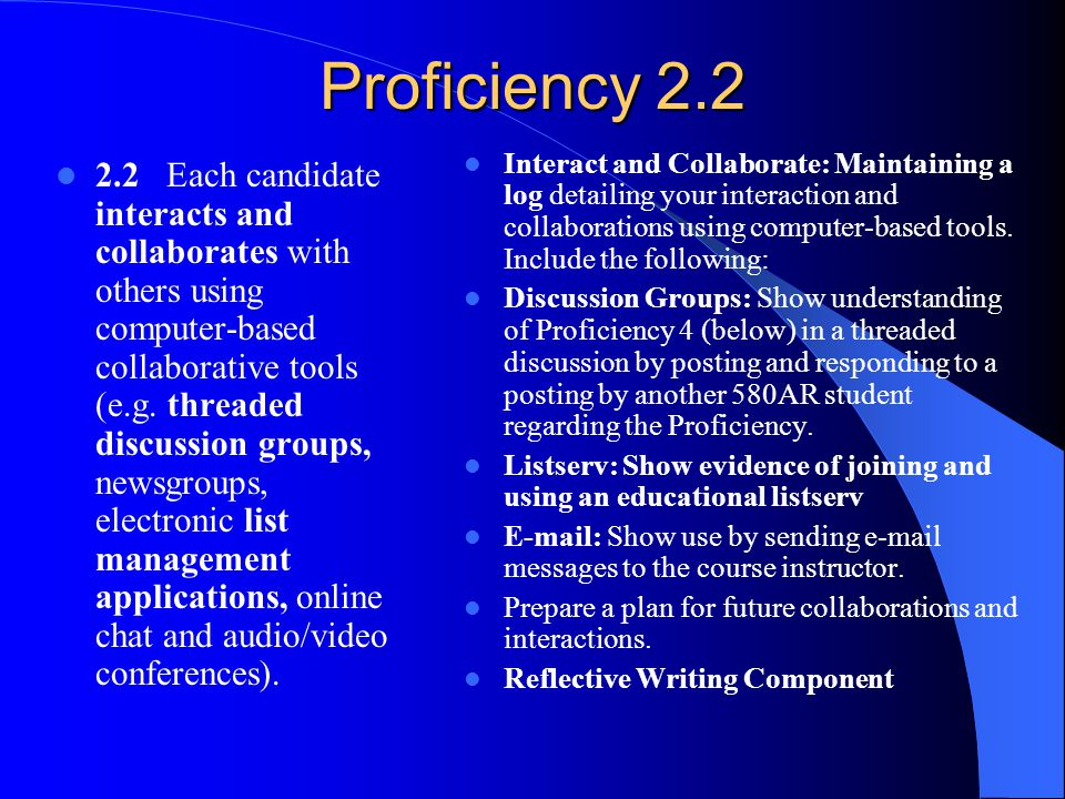 Proficiency 2.2 2.2 Each candidate interacts and collaborates with others using computer-based collaborative tools (e.g.