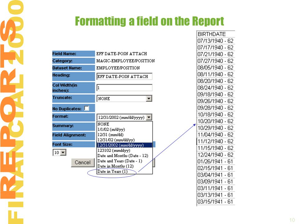10 Formatting a field on the Report