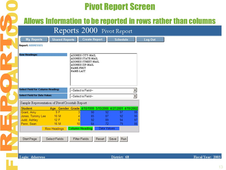 13 Pivot Report Screen Allows Information to be reported in rows rather than columns