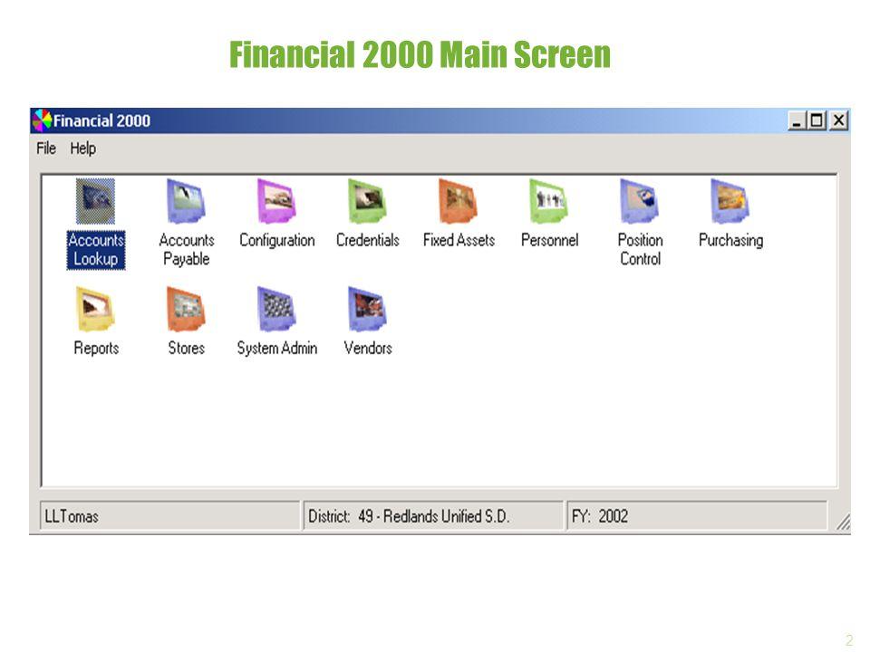 2 Financial 2000 Main Screen
