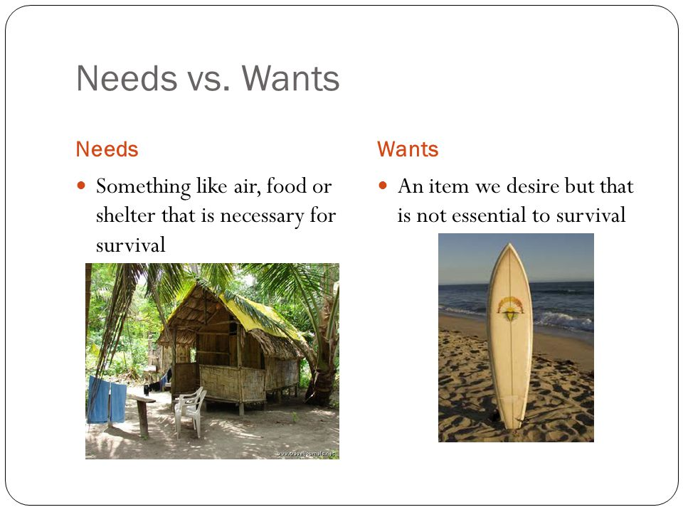 Needs vs. Wants NeedsWants Something like air, food or shelter that is necessary for survival An item we desire but that is not essential to survival