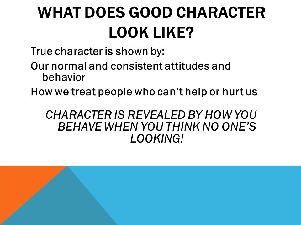WHAT DOES GOOD CHARACTER LOOK LIKE.