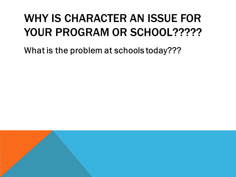 WHY IS CHARACTER AN ISSUE FOR YOUR PROGRAM OR SCHOOL What is the problem at schools today