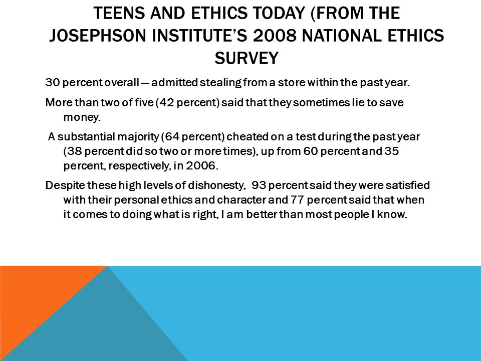 TEENS AND ETHICS TODAY (FROM THE JOSEPHSON INSTITUTE'S 2008 NATIONAL ETHICS SURVEY 30 percent overall — admitted stealing from a store within the past