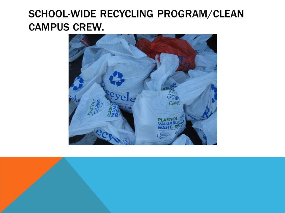 SCHOOL-WIDE RECYCLING PROGRAM/CLEAN CAMPUS CREW.