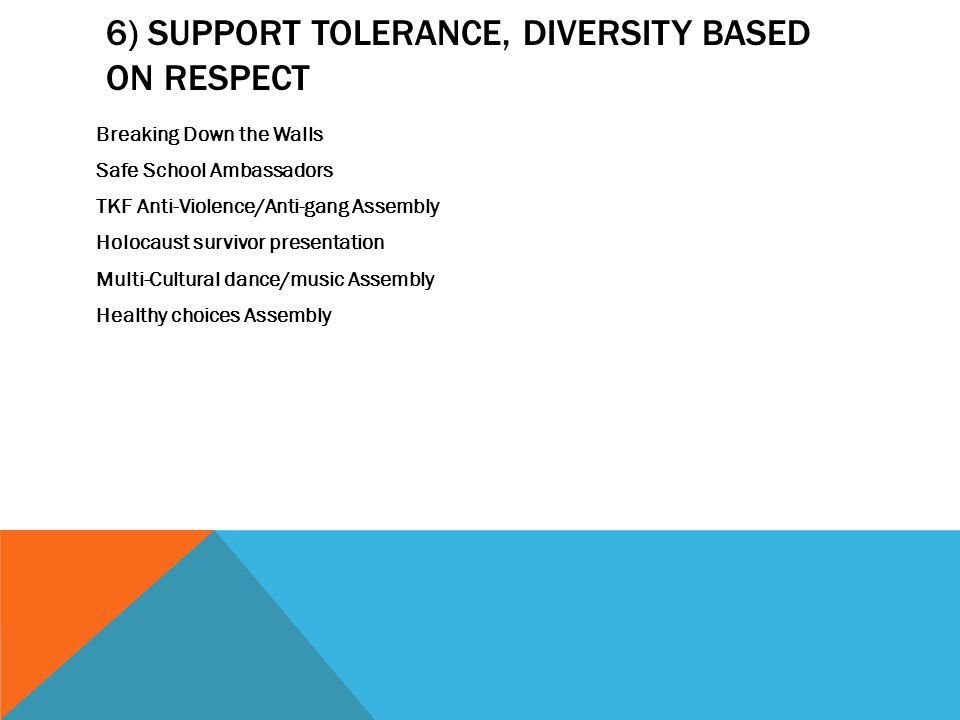 6) SUPPORT TOLERANCE, DIVERSITY BASED ON RESPECT Breaking Down the Walls Safe School Ambassadors TKF Anti-Violence/Anti-gang Assembly Holocaust survivor presentation Multi-Cultural dance/music Assembly Healthy choices Assembly