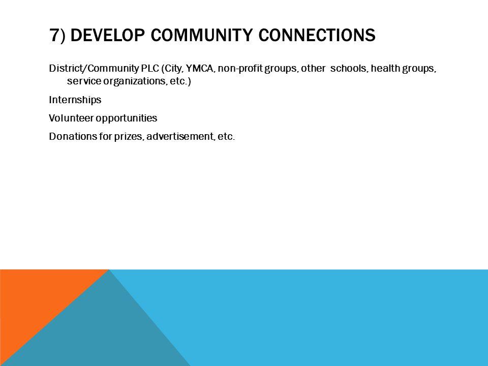 7) DEVELOP COMMUNITY CONNECTIONS District/Community PLC (City, YMCA, non-profit groups, other schools, health groups, service organizations, etc.) Int