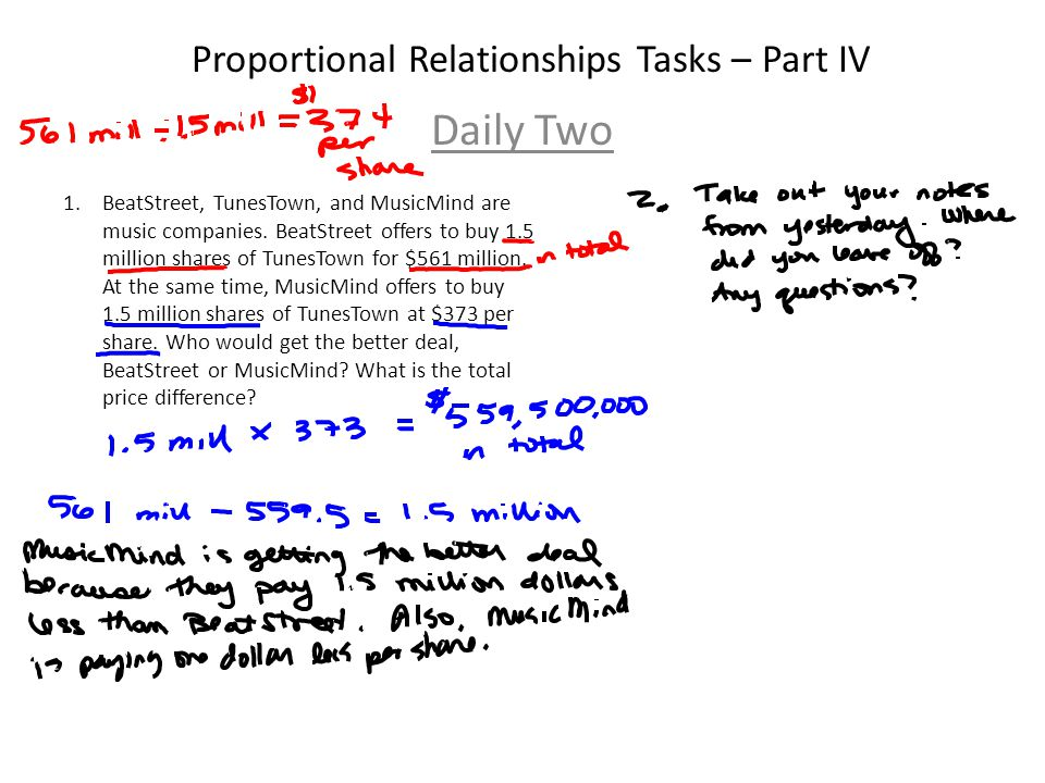 Proportional Relationships Tasks – Part IV Daily Two 1.BeatStreet, TunesTown, and MusicMind are music companies.
