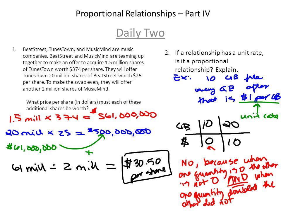 Proportional Relationships – Part IV Daily Two
