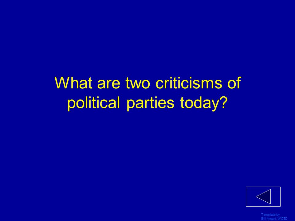 Template by Bill Arcuri, WCSD What are three types of minor parties?